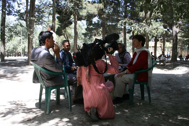 Filming students in th...
