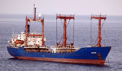 crane vessel (floating)(0.0), research vessel(0.0), bulk carrier(0.0), jackup rig(0.0), anchor handling tug supply vessel(0.0), platform supply vessel(0.0), floating production storage and offloading(0.0), cargo ship(0.0), fishing trawler(0.0), fishing vessel(0.0), caravel(0.0), container ship(0.0), oil tanker(0.0), vehicle(1.0), freight transport(1.0), ship(1.0), sea(1.0), watercraft(1.0),