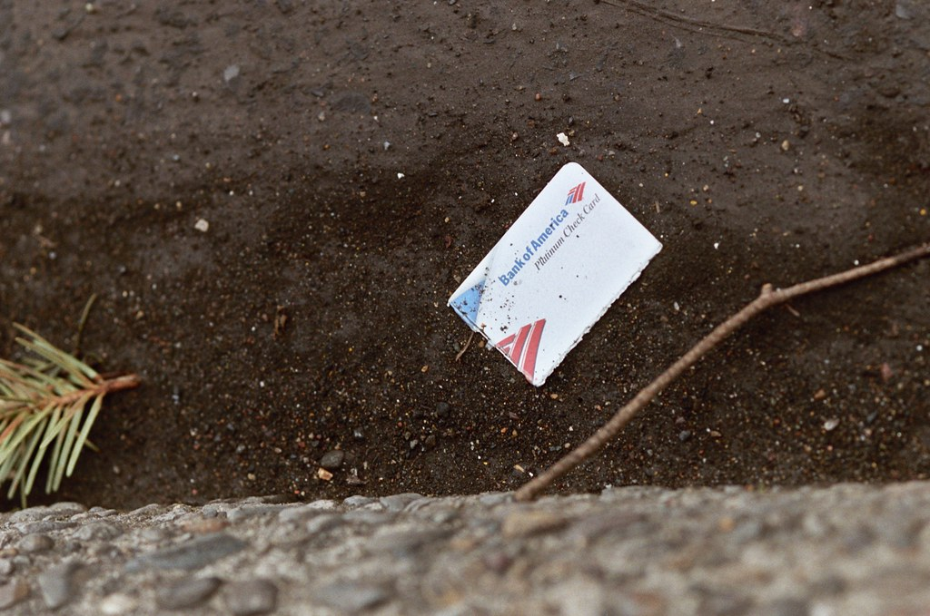 bank of america check card, gutter