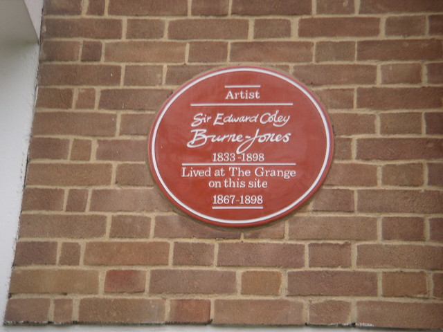 Edward Burne-Jones red plaque - Sir Edward Coley Burne-Jones (1833-1898) artist lived at The Grange on this site 1867-1898.