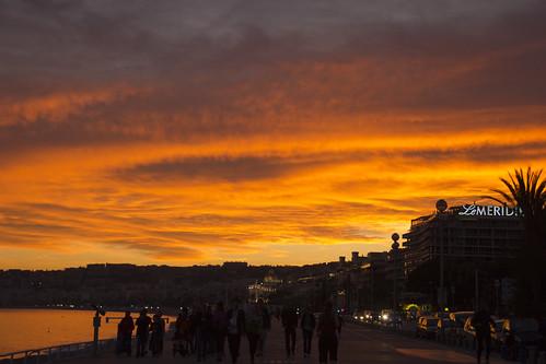 Sunset on the Promenade des Anglais