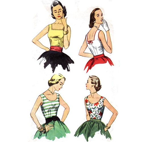 Vintage 1950's sleeveless summer tops sewing pattern