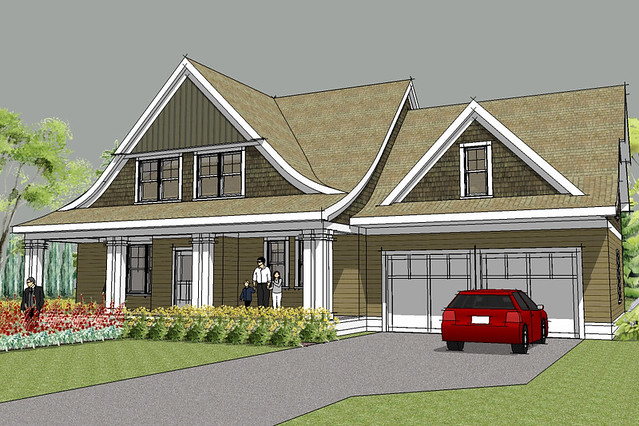 Lake elmo cape cod house plan rendering flickr photo for Modern cape cod house plans