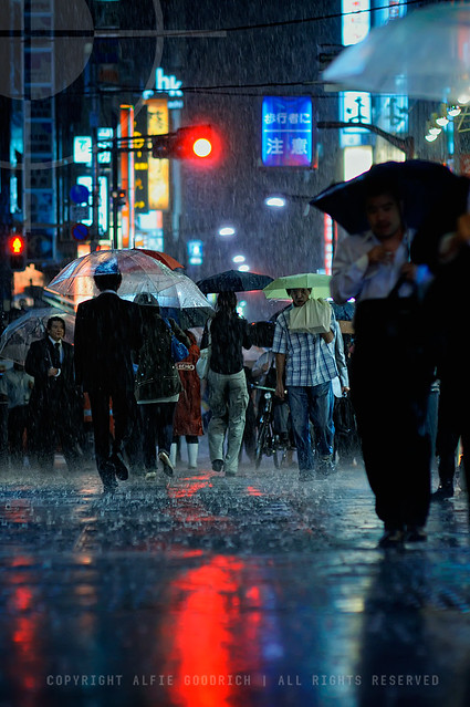 Getting this shot almost cost me an entire bag of Nikons. Raining Cats and Dogs; Shimbashi, Tokyo