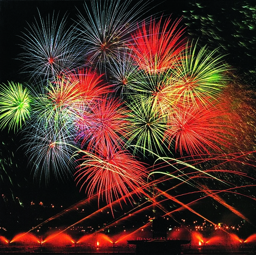 Red and Blue and Green Fireworks Bursts with Colours all Over - Epic Fireworks