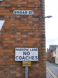 NO COACHES – Signs for Broad St and Narrow Lane,Stratford upon Avon, June 2009