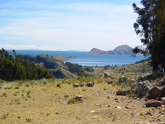 View of the Island of the Sun and Lake Titicaca