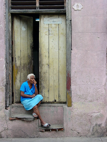 Elderly Woman Seated on Steps - Santiago de Cuba - Cuba