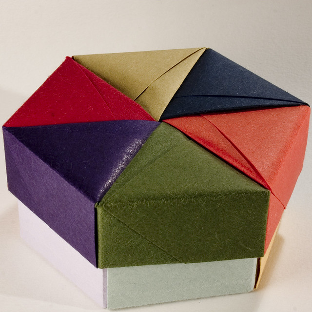 Decorative Boxes How To Make : Decorative hexagonal origami gift box with lid