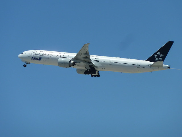 ANA Star Alliance JA731A Boeing 777-381/ER jet seconds after take-off from LAX