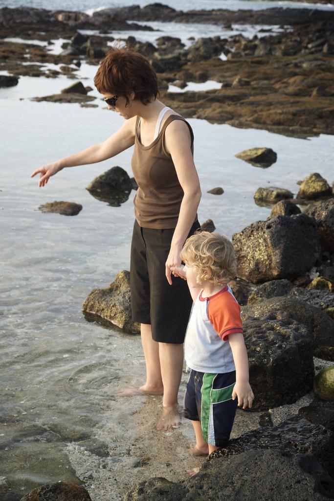 Sis & Lorenz Looking at Tide Pools