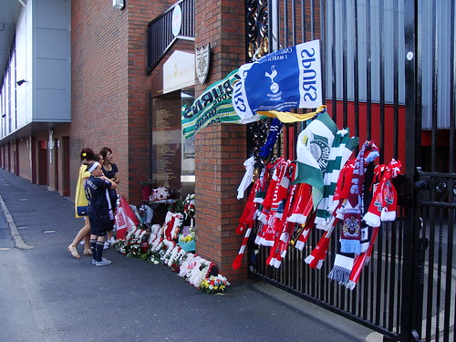 Scarves and flags at the Hillsborough memorial, Anfield