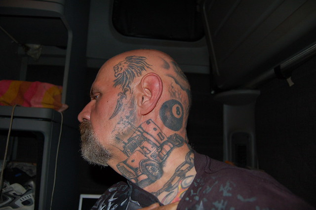 Left side of head neck and face tattoo flickr photo for Tattoos on side of head