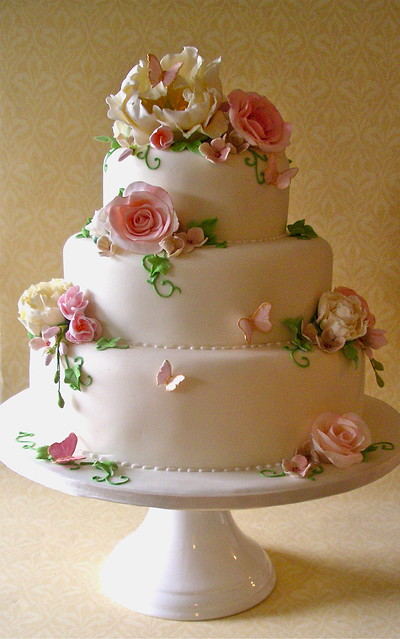 Ivory Pink green Fleur wedding cake