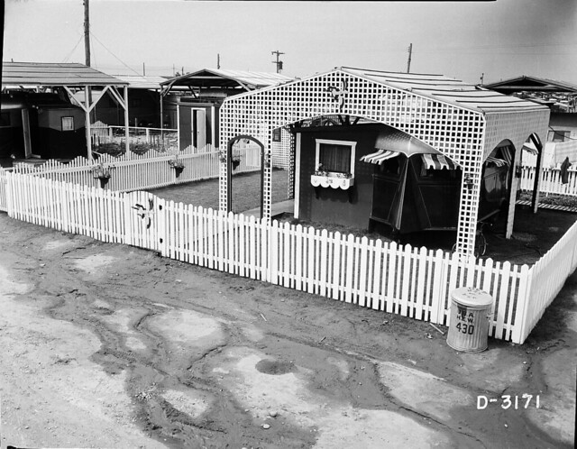 Trailer City with the White Picket Fence and Ducks, 1944