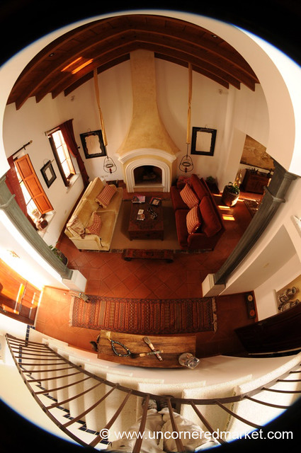 Living Room and Staircase, Fisheye - Antigua, Guatemala