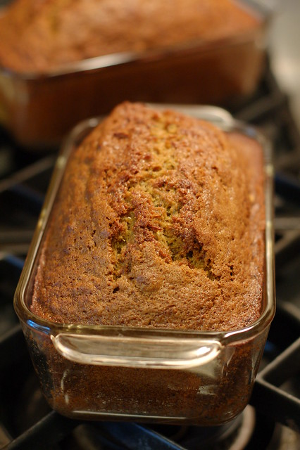 Zucchini bread just out of the oven