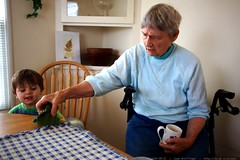 great grandma joan showing sequoia a stuffed animal …