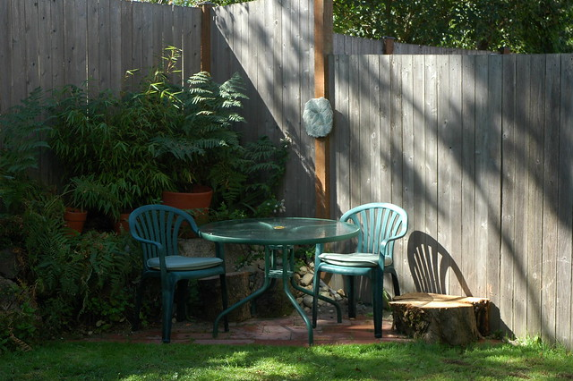 Small triangular brick patio in the backyard of a northend… | Flickr - Photo Sharing!