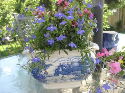 blue transferware tureen with flowers