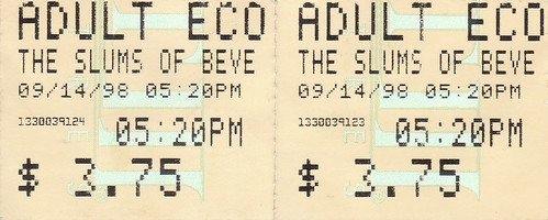 Ticket Stub – Slums of Beverly Hills, seen with Koch
