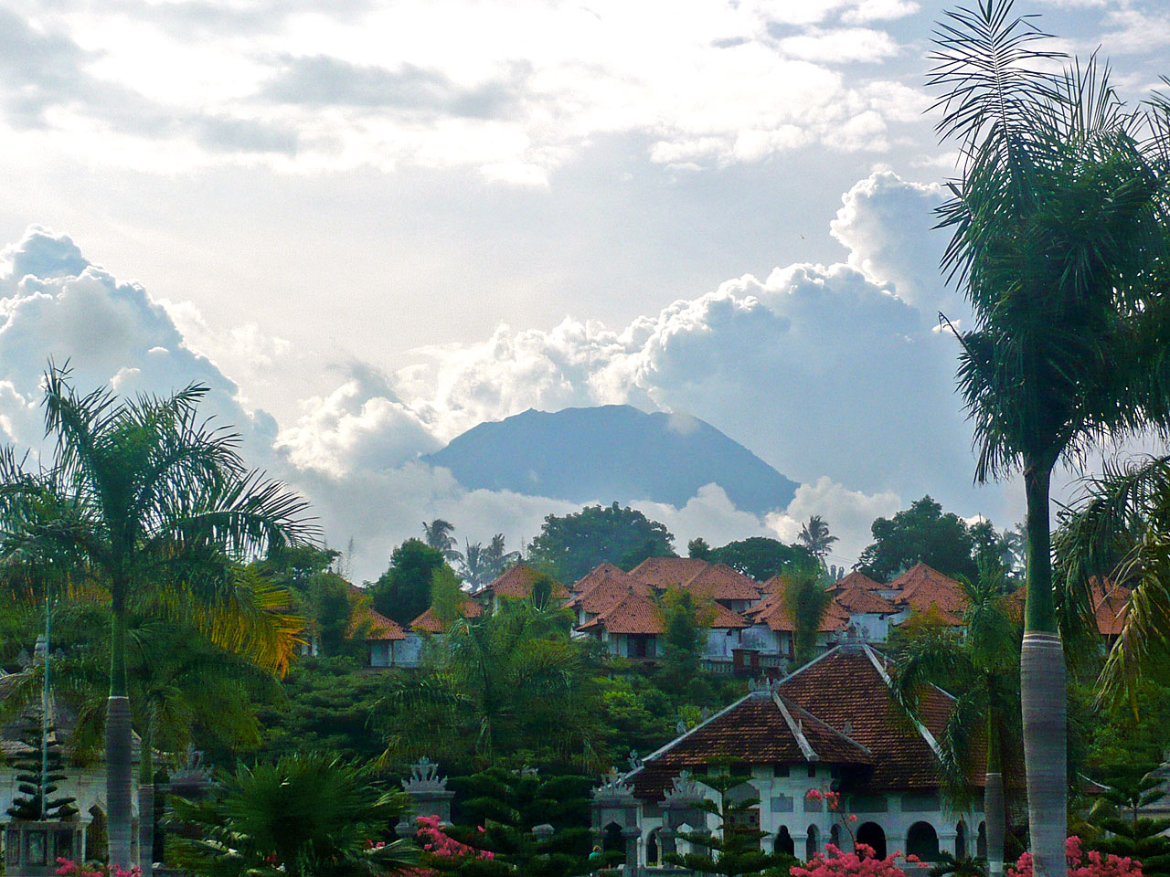 View of Gunung Agung at the Water Palace in Ujung