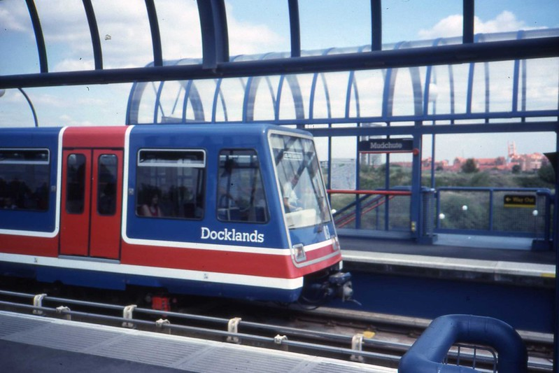 Docklands Light Railway - The DLR  MUDCHUTE station.  Sept 1989