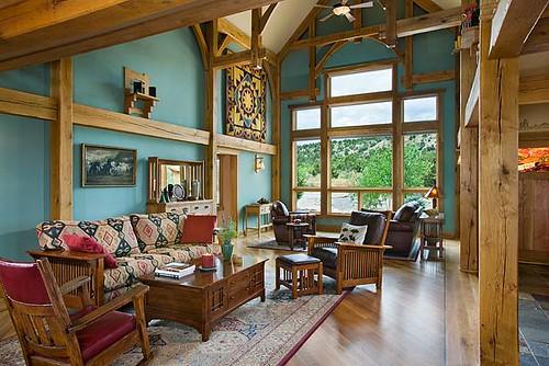 Distinct western elegance timber frame home great room w for Timber frame great rooms