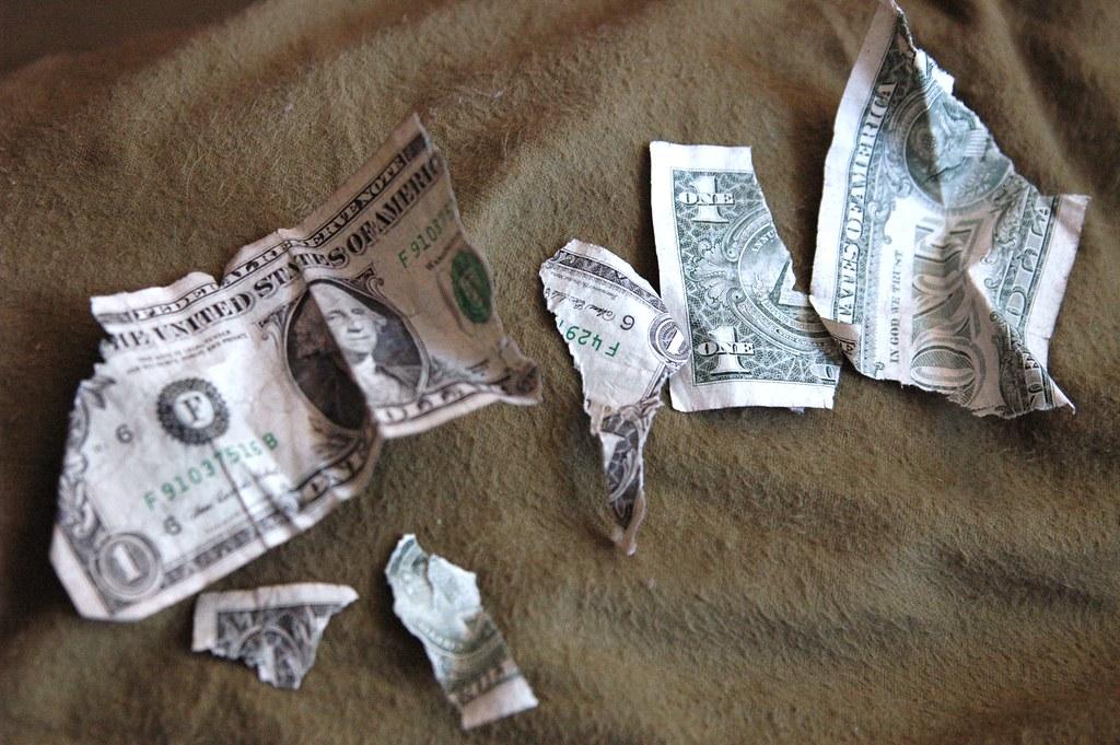 a ripped dollar bill