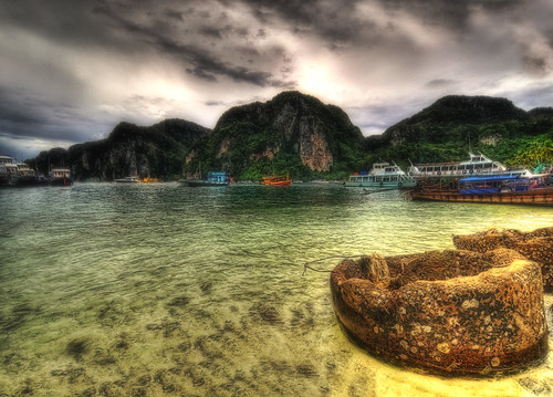 sea sky storm texture colors clouds thailand boat phuket hdr