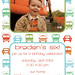 Colorful Vehicles- Custom Photo Birthday Invitation for any age boy