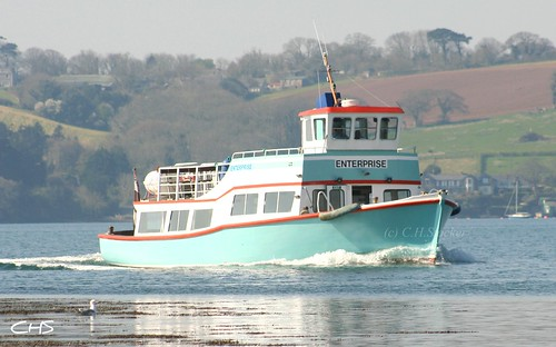 Enterprise boat approaching Turnaware Bar, River Fal by Stocker Images