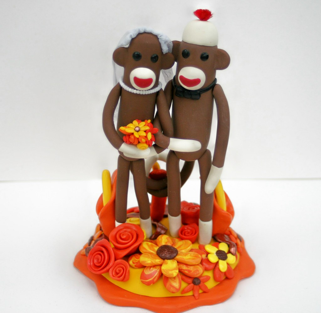 autumn themed wedding cake toppers autumn themed sock monkey wedding cake topper flickr 10898