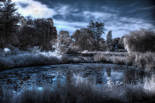 moon stars pond midnight infrared moonlight hdr summersolstice darthbayne