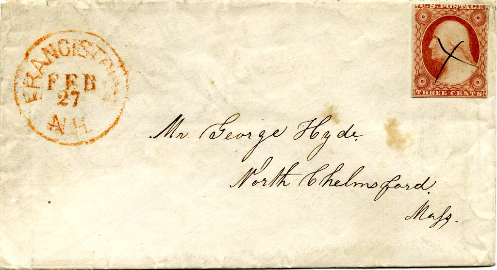 Letter from Francestown, New Hampshire (USA) to North Chelmsford, Massachusetts, February 1856