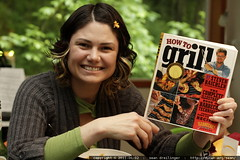 "rachel with her new ""how to grill"" book"