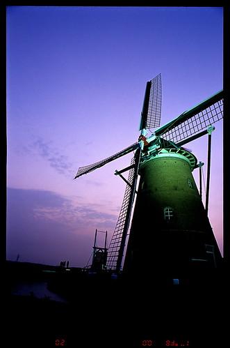 sunset film windmill japan twilight sakura 20mm 2008 佐倉 nikonf6 風車 印旛沼 imbanumamarsh 黄昏刻