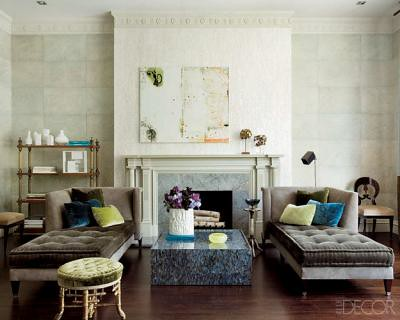 Luxe neutral living room, featured in Elle Decor