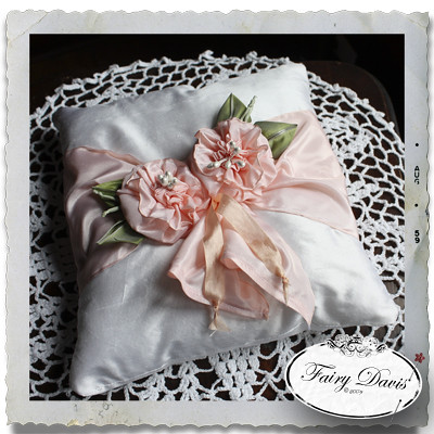 Ribbon Wrapped Silk Pillow with Ribbonwork Poppy