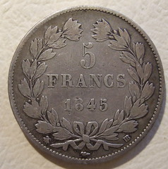 FRANCE 5 FRANCS ---LOUIS PHILIPPE I 1845 a