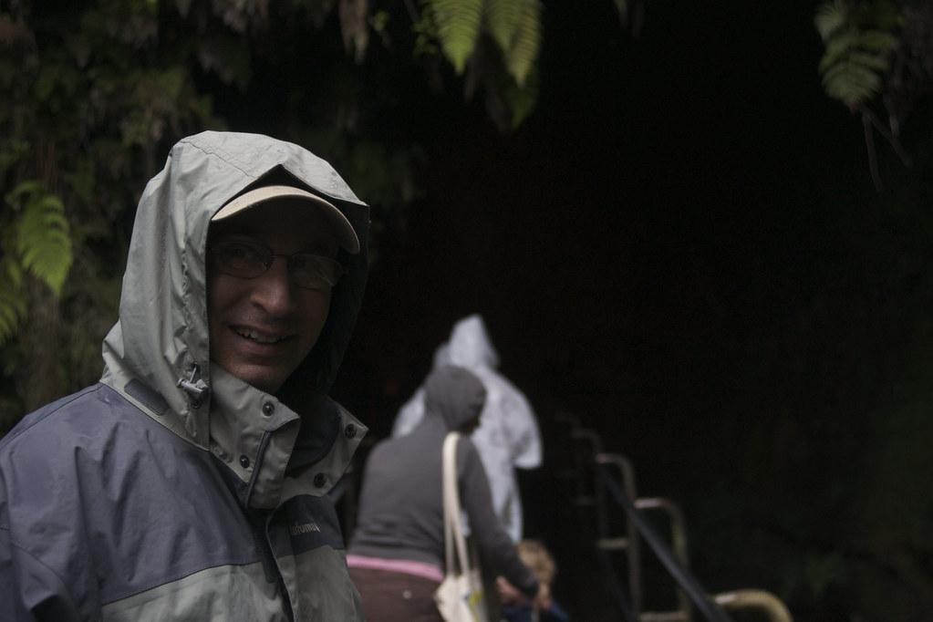 David at the Lava Tube Entrance