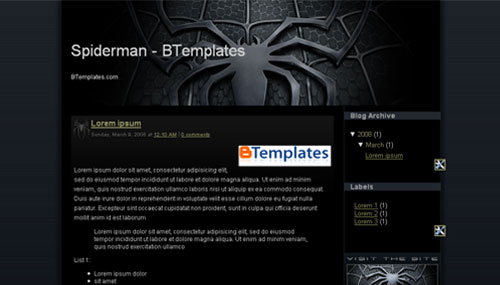 Free Blogger Spiderman Black Web20 Template