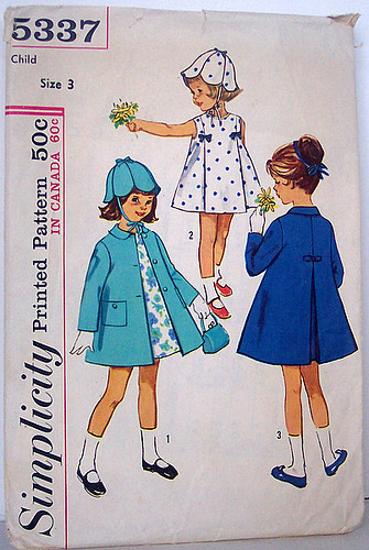 Simplicity 5337 Vintage 60's Sewing Pattern Girls Dress, Coat and Matching Hat Size 3