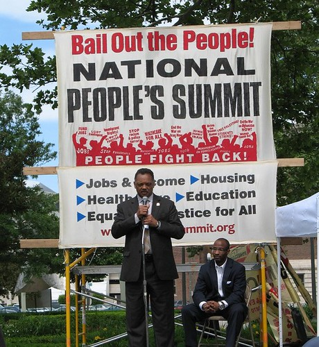 Rev. Jesse Jackson addressing the People's Summit in Detroit at Grand Circus Park. This event was held between June 14-17, 2009. (Photo: Alan Pollock) by Pan-African News Wire File Photos