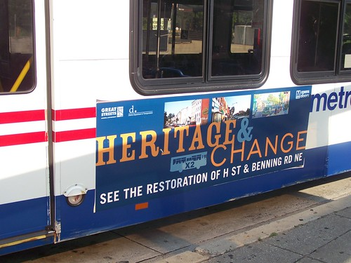 Heritage & Change bus advertisement for H Street NE, DC