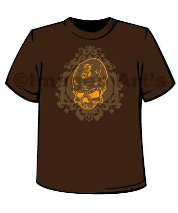 Brown-T-Spade-Skull