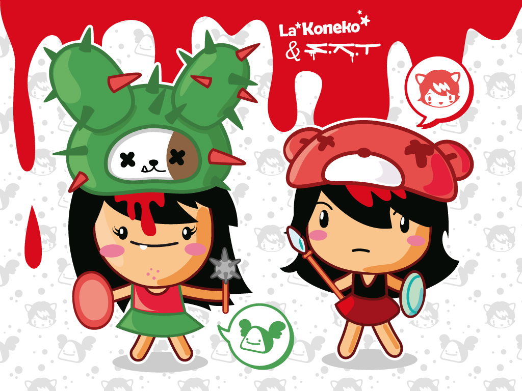 Qute Qillers collab with La Koneko (Peru) happy girls wear famous toys trophies