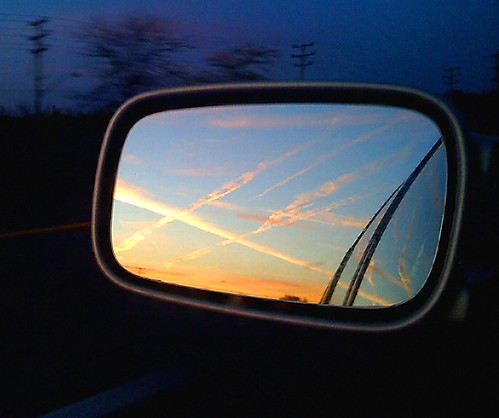 cameraphone morning sky reflection rearviewmirror contrails iphone