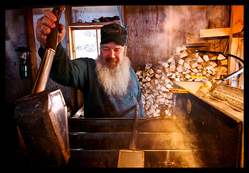 house make beard maple vermont farm smoke traditional shed sugar production syrup produce firewood grungy boil evaporator evaporate