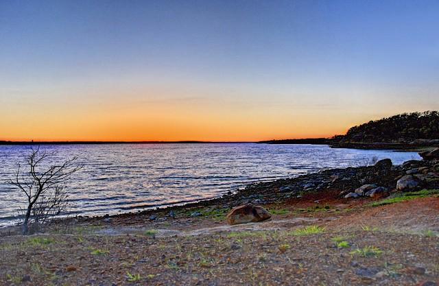 Grapevine Lake Rocky Beach after Sunset - #8142-8143 redux